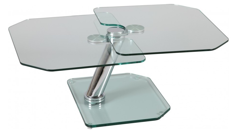 Table Basse De Salon Rectangulaire 2 Plateaux Pivotants En Verre Tremp