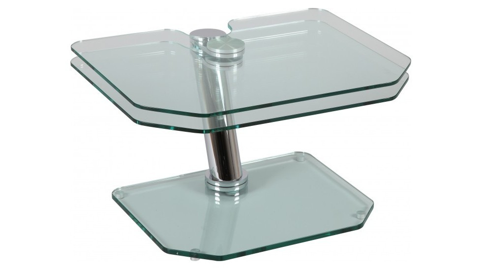 Table basse de salon rectangulaire 2 plateaux pivotants en for Table en verre de salon