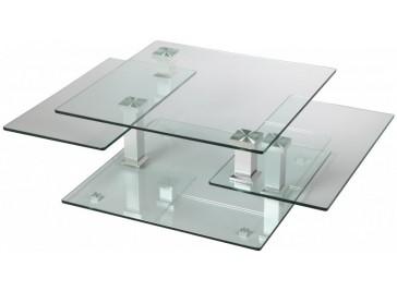 Table basse carrée en verre 3 plateaux articulés