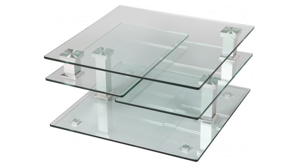 Table basse laque gris carree isabelle idclik - Table basse salon verre ...