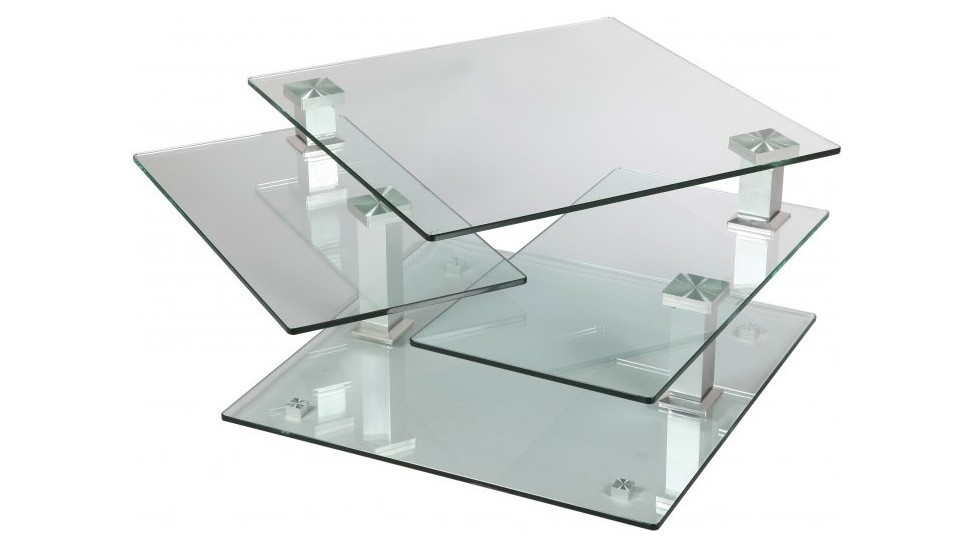 Table basse carr e en verre 3 plateaux articul s table for Table en verre de salon