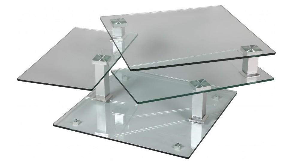 table basse carr 233 e en verre 3 plateaux articul 233 s table