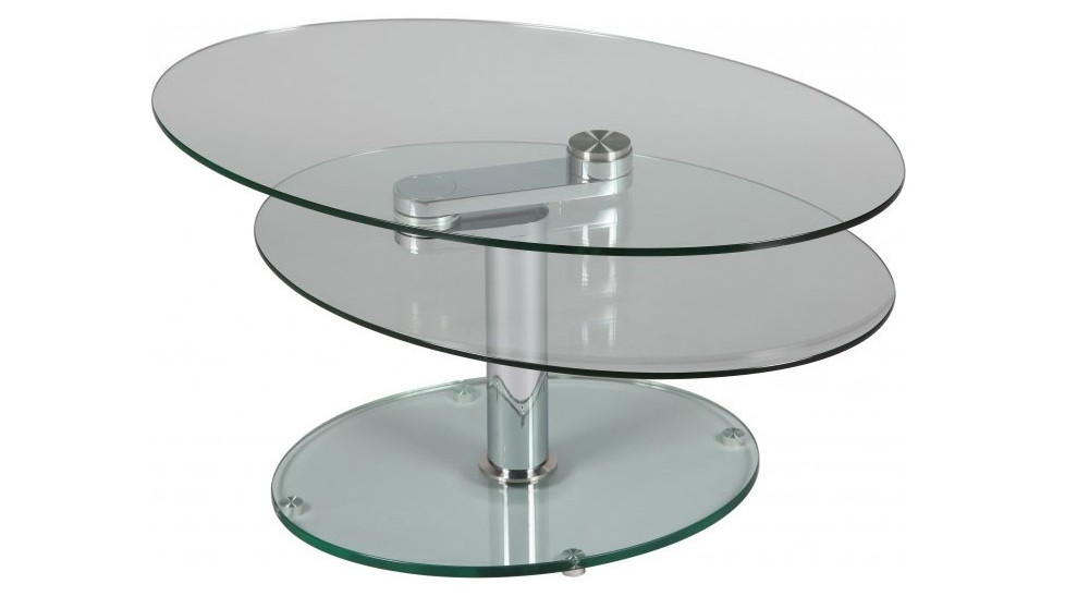 Table basse en verre ovale design - Table basse design ovale ...