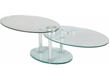 Table basse de salon ovale en verre