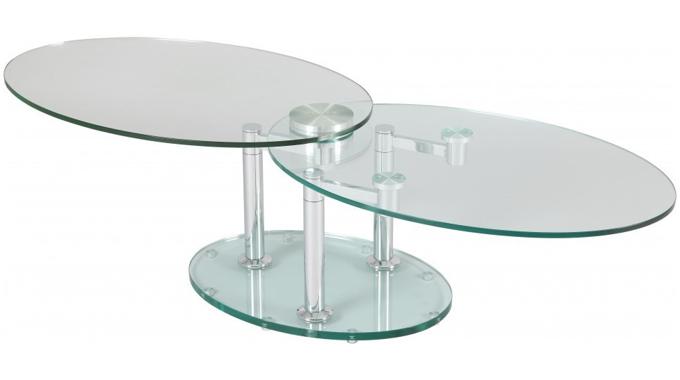 Table basse de salon ovale en verre table basse design - Table salon en verre ...