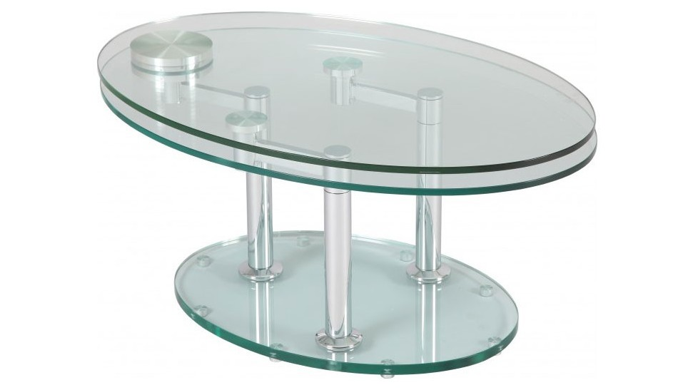 Table basse de salon ovale en verre table basse design - Table de salon en verre ...