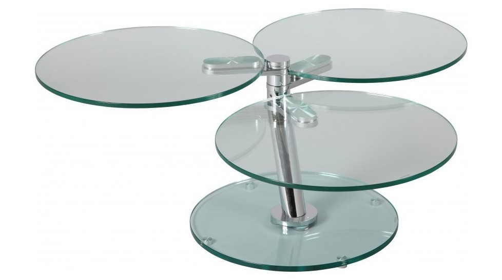 Table basse ronde articul e 3 plateaux verre table basse for Table ronde verre design