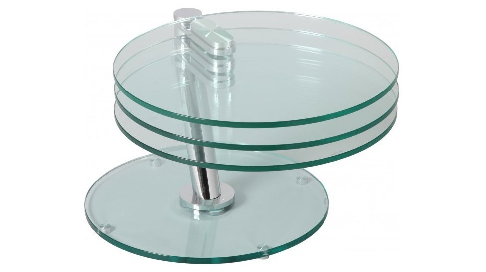 Table basse ronde articul e 3 plateaux verre table basse for Table de salon ronde en verre
