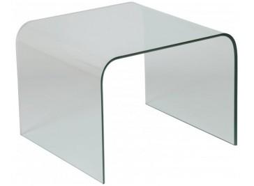 Bout de canapé design verre courbé carré