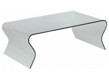 Table basse design verre courbé ondulé rectangulaire