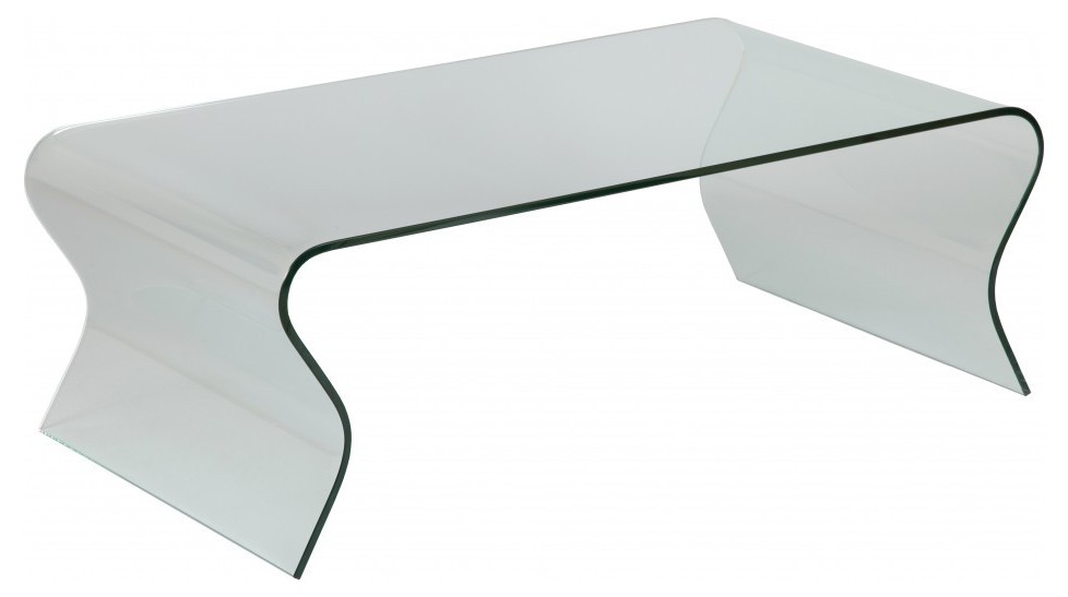 Table Basse Design Verre Ondul Rectangulaire Table