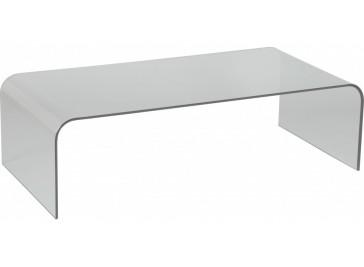 Table basse design rectangulaire verre courbé