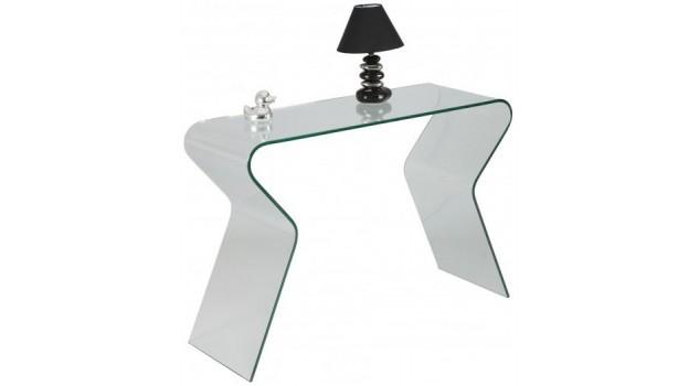 Console design en verre courb console verre pas cher for Console informatique en verre