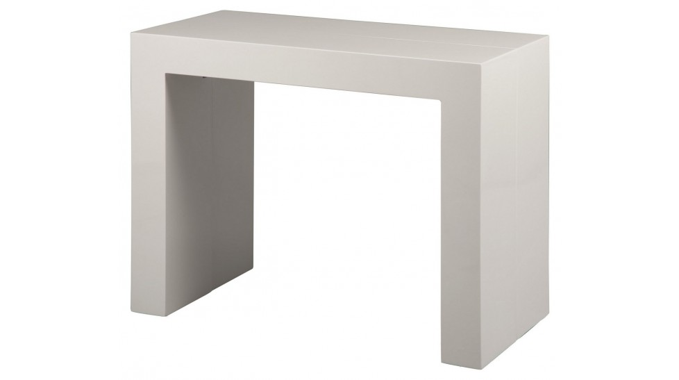 Console extensible blanc laqu 3 allonges console design - Table console extensible blanc laque design ...