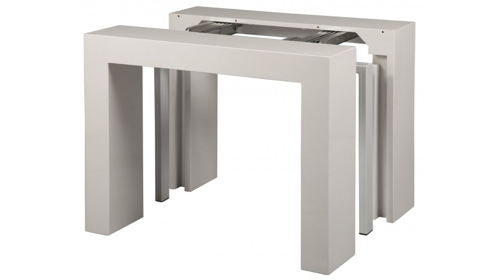 Console extensible blanc laqu 3 allonges console design for Console salon