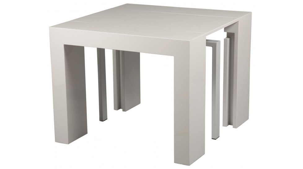 Console extensible blanc laqu 3 allonges console design pas cher - Table carree blanc laque avec rallonge ...