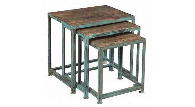 Lot de 3 tables gigognes acier design industriel - Table a manger style industriel pas cher ...