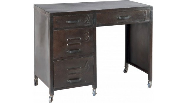 bureau en acier 4 tiroirs sur roulettes bureau. Black Bedroom Furniture Sets. Home Design Ideas