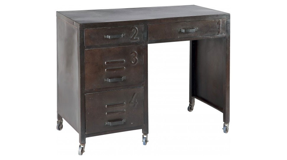 bureau en acier 4 tiroirs sur roulettes bureau industriel pas cher. Black Bedroom Furniture Sets. Home Design Ideas