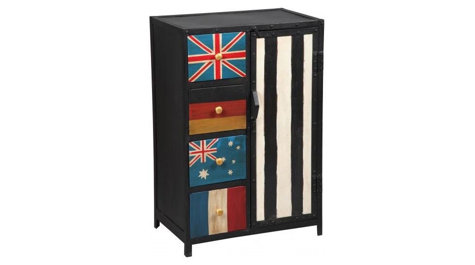 Cabinet industriel en acier 4 tiroirs 1 porte meuble rangement pas cher - Meuble de rangement salon pas cher ...