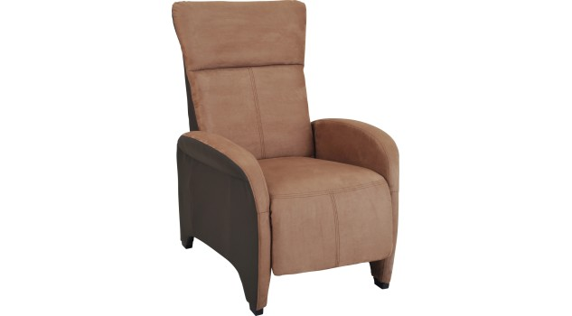 fauteuil relax manuel microfibre brun clair et fonc. Black Bedroom Furniture Sets. Home Design Ideas