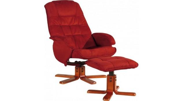 Fauteuil relax pivotant avec pouf en microfibre rouge fauteuil d tente pas - Fauteuil relaxant pas cher ...