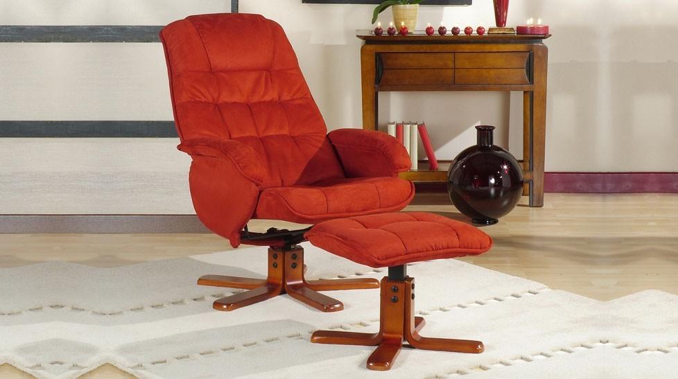 fauteuil relax pivotant avec pouf en microfibre rouge fauteuil d tente pas cher. Black Bedroom Furniture Sets. Home Design Ideas