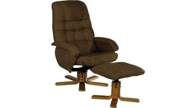 fauteuil relax inclinable et pivotant avec pouf microfibre chocolat. Black Bedroom Furniture Sets. Home Design Ideas