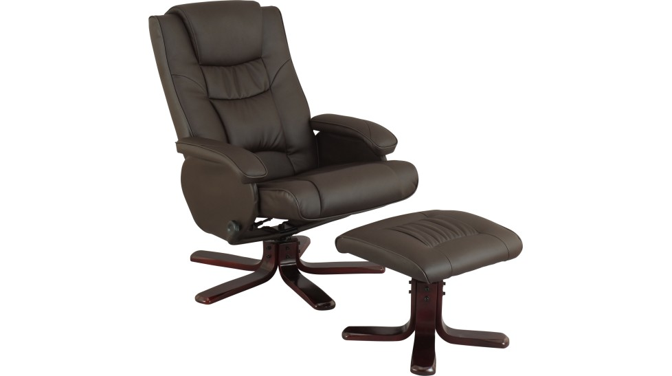 Fauteuil relax pivotant et pouf simili cuir noir - Fauteuil de table simili cuir ...