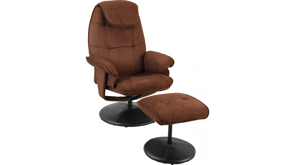 fauteuil relax en microfibre chocolat avec pouf fauteuil relaxation prix discount. Black Bedroom Furniture Sets. Home Design Ideas