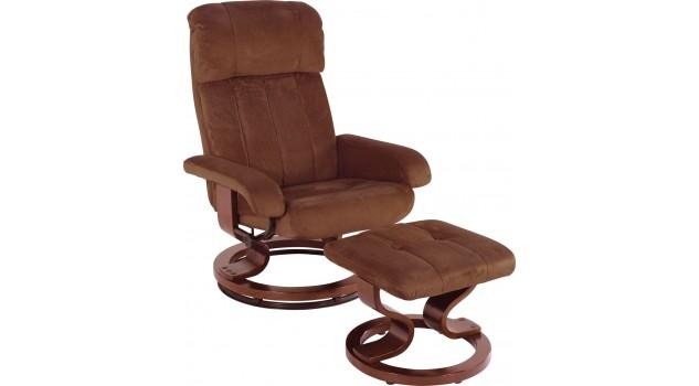Ensemble fauteuil relax avec pouf microfibre chocolat fauteuil relax - Fauteuil relaxation avec pouf ...