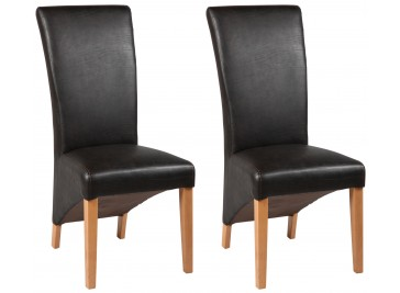 Chaises simili cuir brun - lot de 2 chaises design