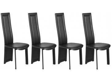 Lot de 4 chaises design noires - Chaise simili cuir