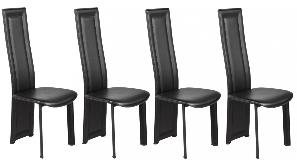 lot de 4 chaises en pvc noir pas cher chaise design. Black Bedroom Furniture Sets. Home Design Ideas