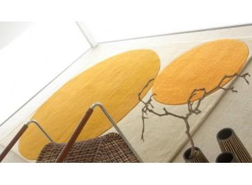 Tapis laine moderne or et blanc - Cercles