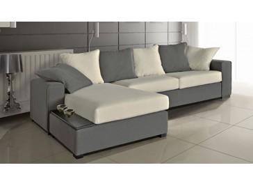 Canapé d'angle réversible blanc et gris - Time