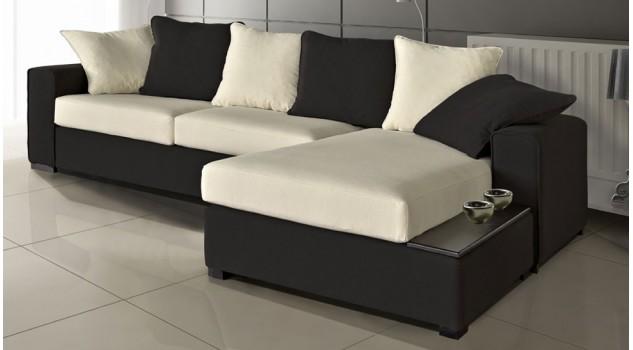 canap d 39 angle r versible en microfibre noir et blanc pas cher. Black Bedroom Furniture Sets. Home Design Ideas