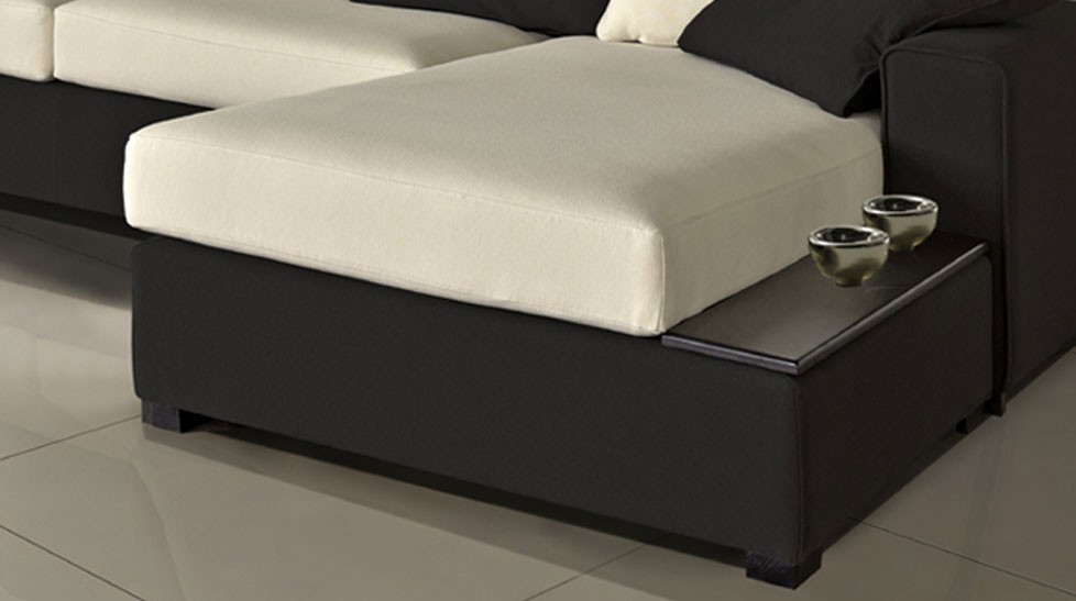 Canap d 39 angle r versible en microfibre noir et blanc pas cher for Je recherche un canape pas cher