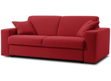 canapé convertible microfibre rouge 3 places - Sofia