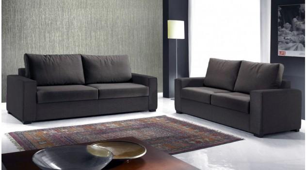 Canap italien 3 places en tissu marron canap design - Canape tissu design italien ...