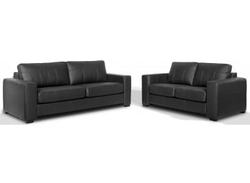 salon cuir 5 places noir pas cher canap 3 2. Black Bedroom Furniture Sets. Home Design Ideas