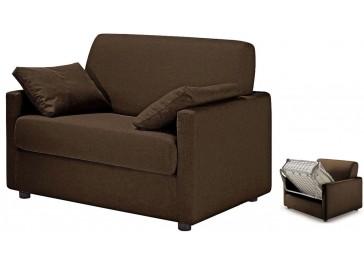 fauteuil lit convertible en tissu marron - David