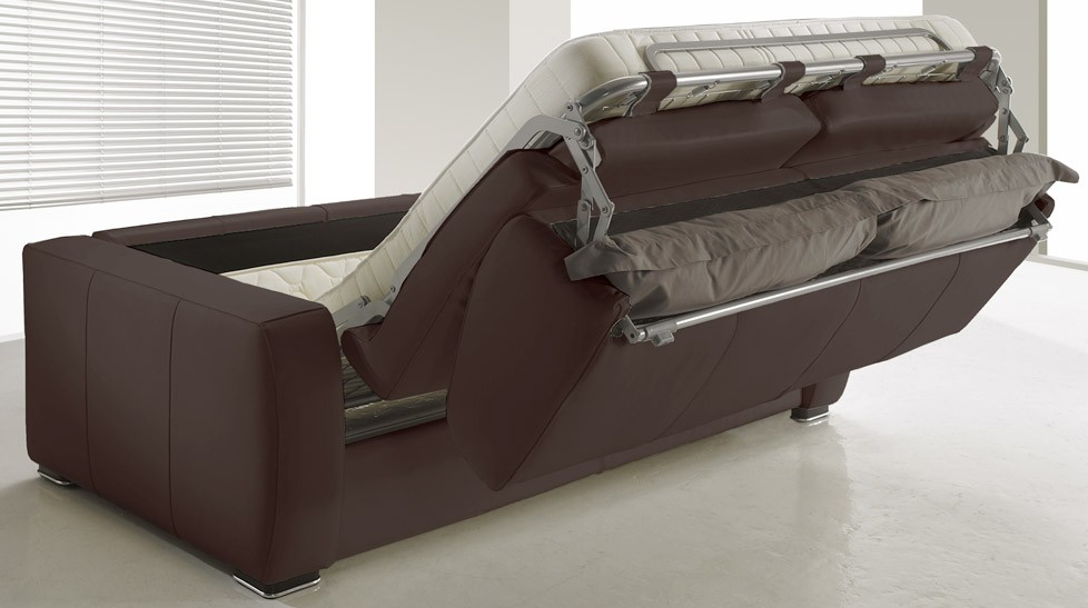 Canap lit rapido en cuir marron 3 places convertible for Canape confortable et pas cher