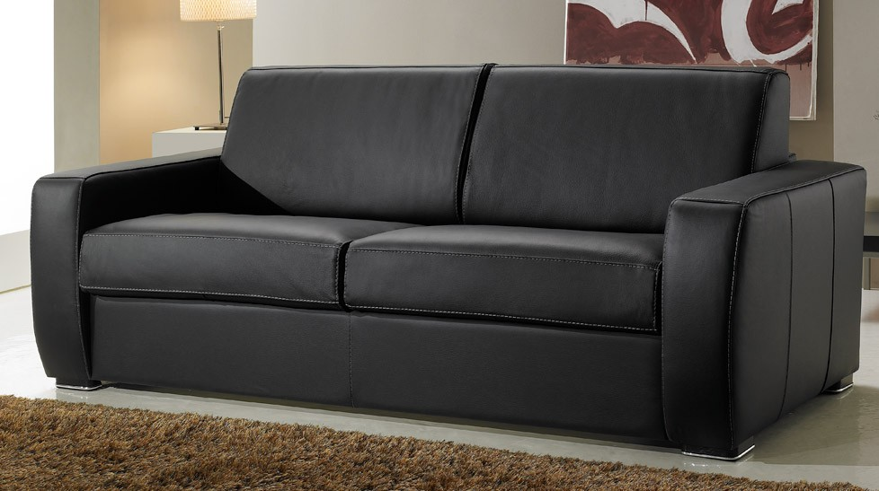 Canap lit en cuir 2 places couchage 120 cm tarif usine for Canape 2 places noir