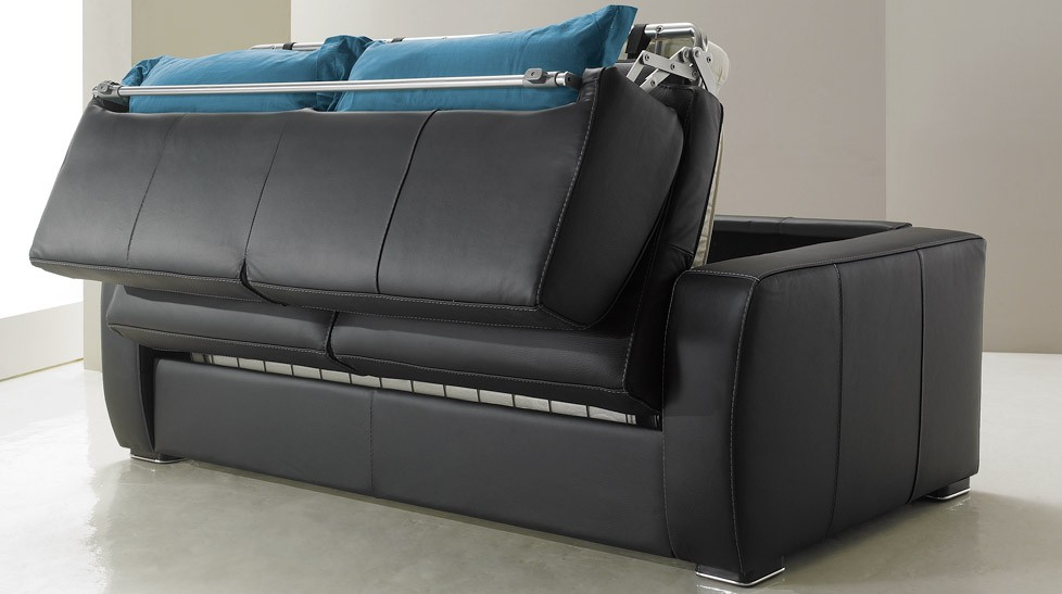 Canap lit en cuir 2 places couchage 120 cm tarif usine for Canape 4 places convertible
