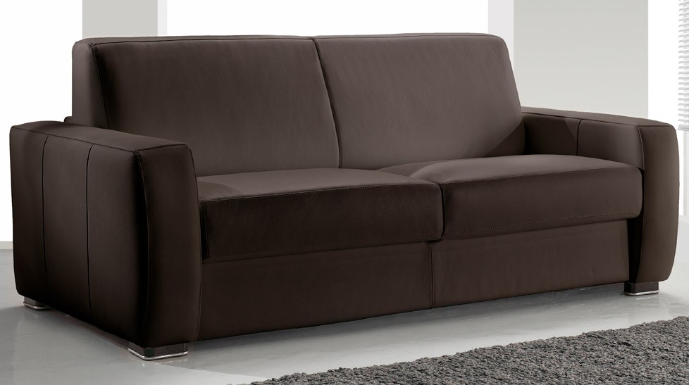 Canap convertible 2 places cuir marron pas cher for Canape confortable convertible