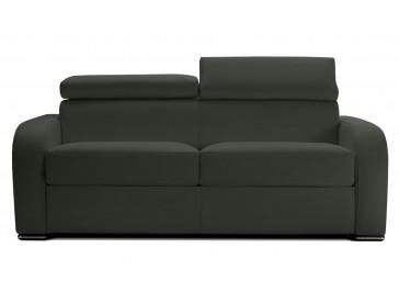 Canapé convertible cuir gris anthracite 2 places