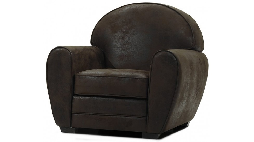 fauteuil club vintage en microfibre aspect cuir vieilli fauteuil pas cher. Black Bedroom Furniture Sets. Home Design Ideas