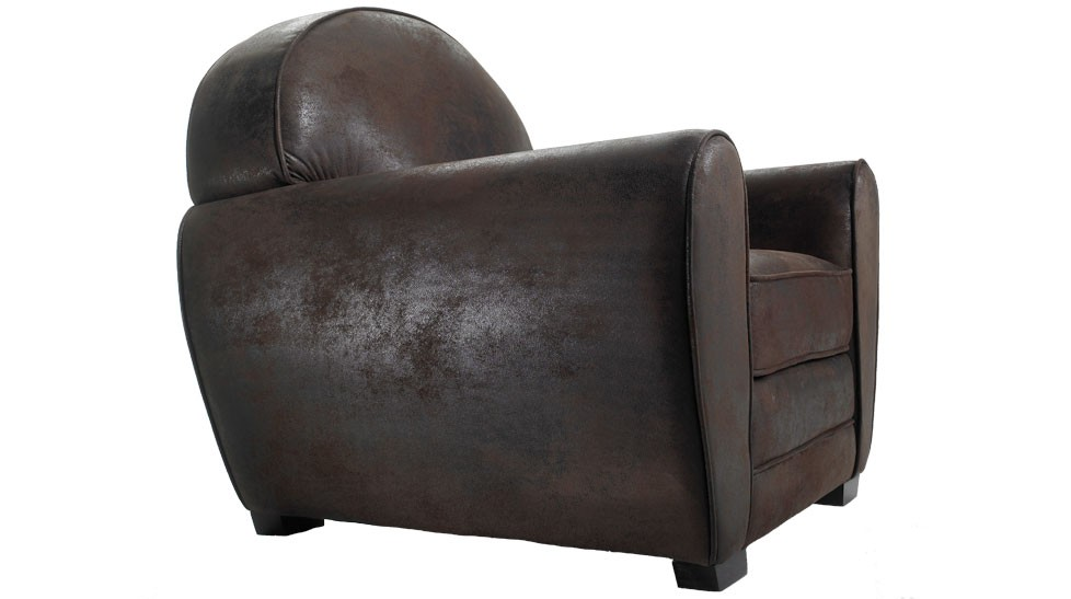 fauteuil club vintage en microfibre aspect cuir vieilli. Black Bedroom Furniture Sets. Home Design Ideas
