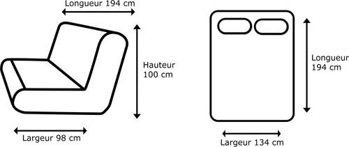 Clic clac banquette grise avec matelas 130 x 190 cm clic - Clic clac dimension ...